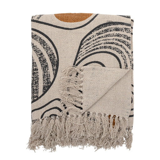 Cream Ochre And Black Abstract Pattern Recycled Cotton Throw