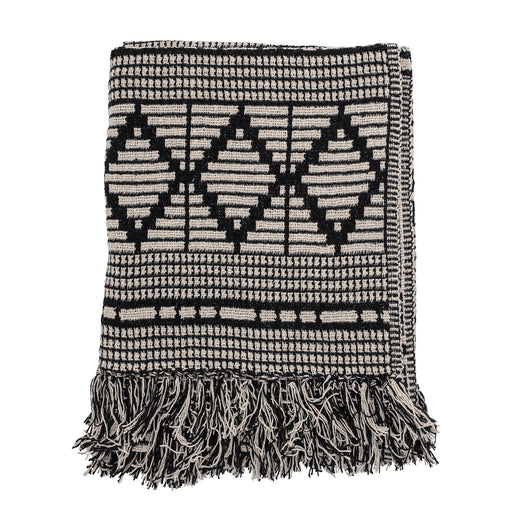 Black And Cream Patterned Recycled Cotton Throw