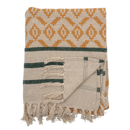 Cream Yellow And Charcoal Patterned Recycled Cotton Throw