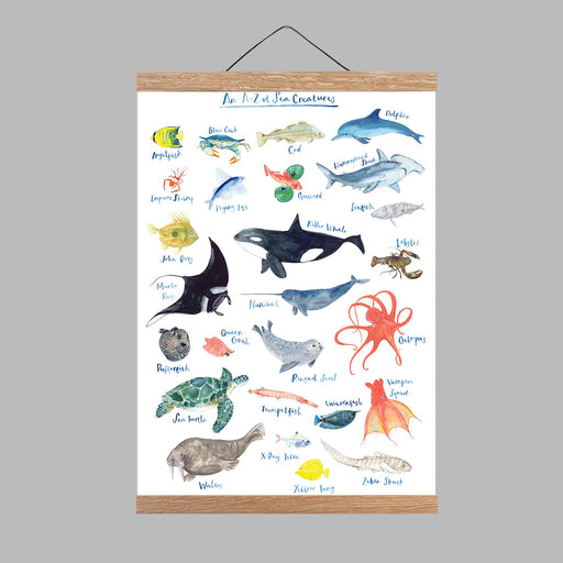 A3 A to Z of Sea Creatures Art Print