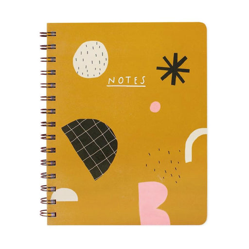 A5ish Abstract Mustard Spiral-bound Hardback Notebook