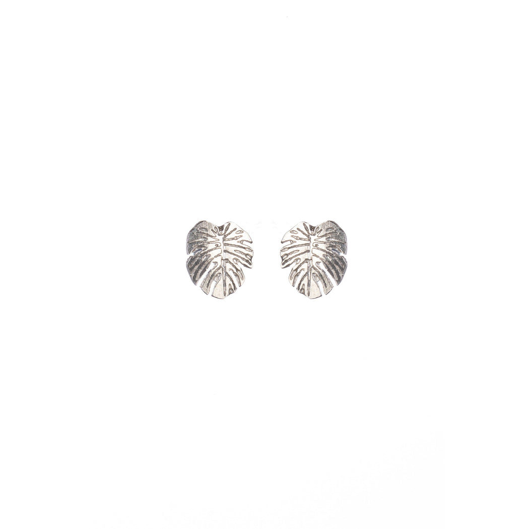 Tiny Sterling Silver Monstera Leaf Stud Earrings