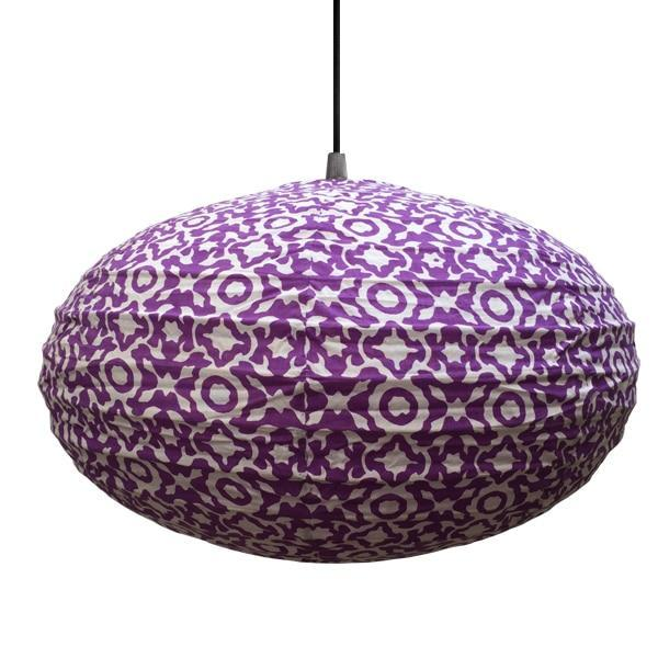 Small 60cm Cream and Lavender Purple Eva Cotton Pendant Lampshade