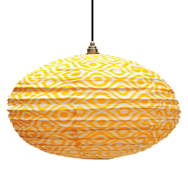 Small 60cm Cream and Yellow Paco Cotton Pendant Lampshade