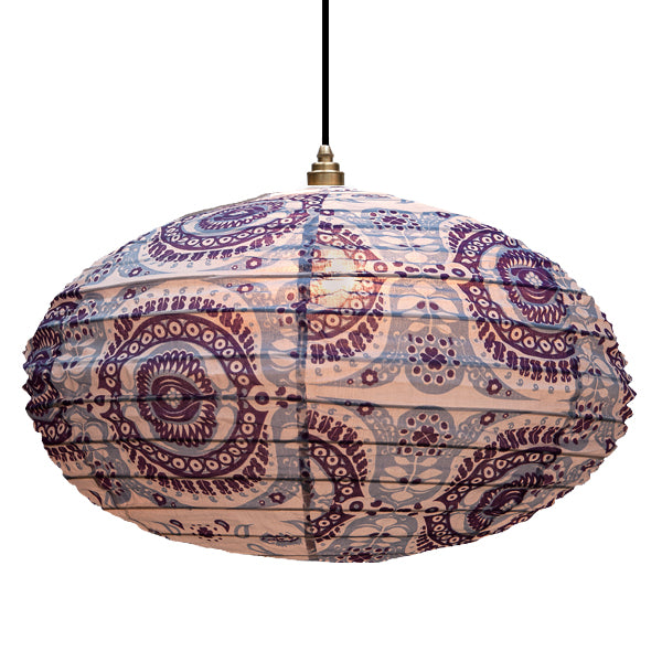 Small 60cm Lavender, Purple And Cream Pushkar Cotton Pendant Lampshade