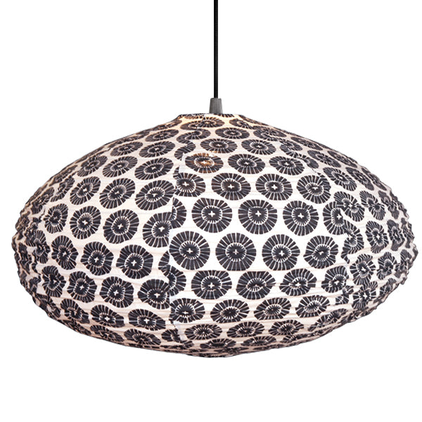 Small 60cm Cream and Black Oki Cotton Pendant Lampshade