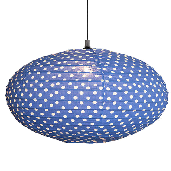 Small 60cm Blue And Cream Dot Cotton Pendant Lampshade