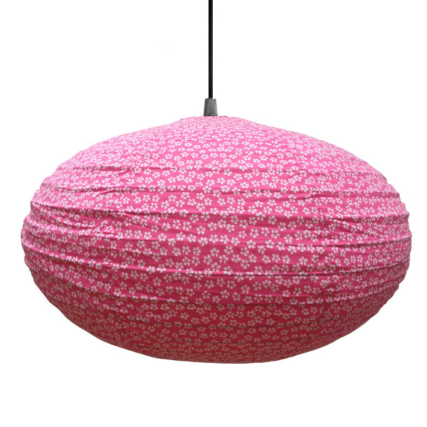 Small 60cm Pink And Cream Flowers Cotton Pendant Lampshade