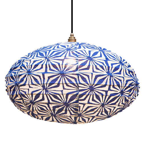 Small 60cm Navy and Cream Hima Cotton Pendant Lampshade