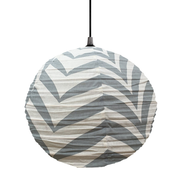 Small 60cm Round Grey And Cream Zebra Cotton Pendant Lampshade
