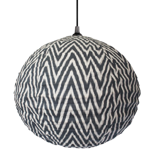 Small 60cm Round Grey And Cream Zig Zag Cotton Pendant Lampshade