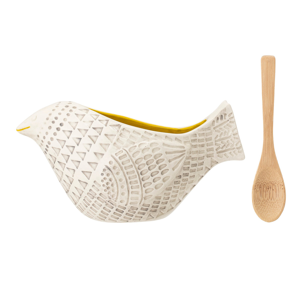 White Bird Salt Pig With Bamboo Spoon