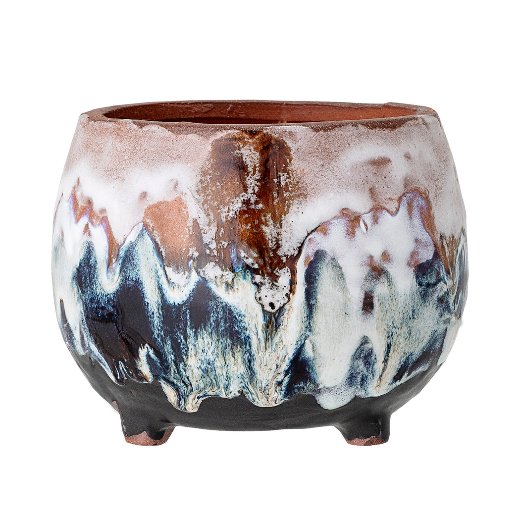 Purple, Green And Cream Drip Glazed Plant Pot