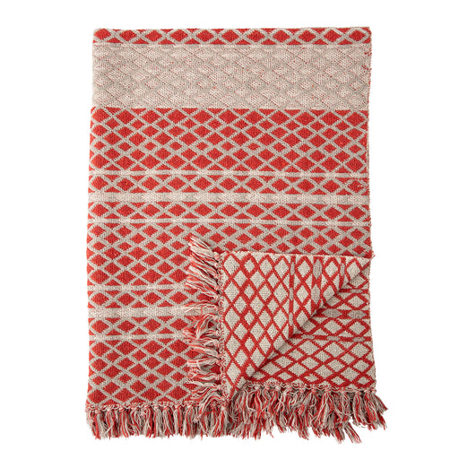 Red Patterned Recycled Cotton Throw