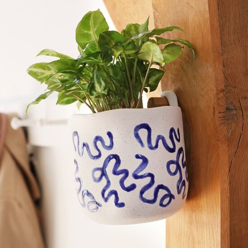 White Textured Hangable Plant Pot with Blue Squiggles