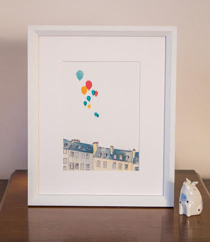A5 Buildings and Balloons Art Print