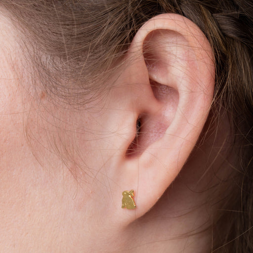 Tiny Gold Vermeil Bunny Rabbit Stud Earrings