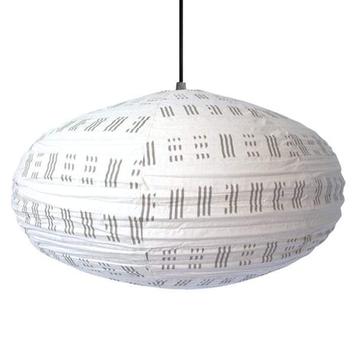 Large 80cm Black And Cream City Cotton Pendant Lampshade