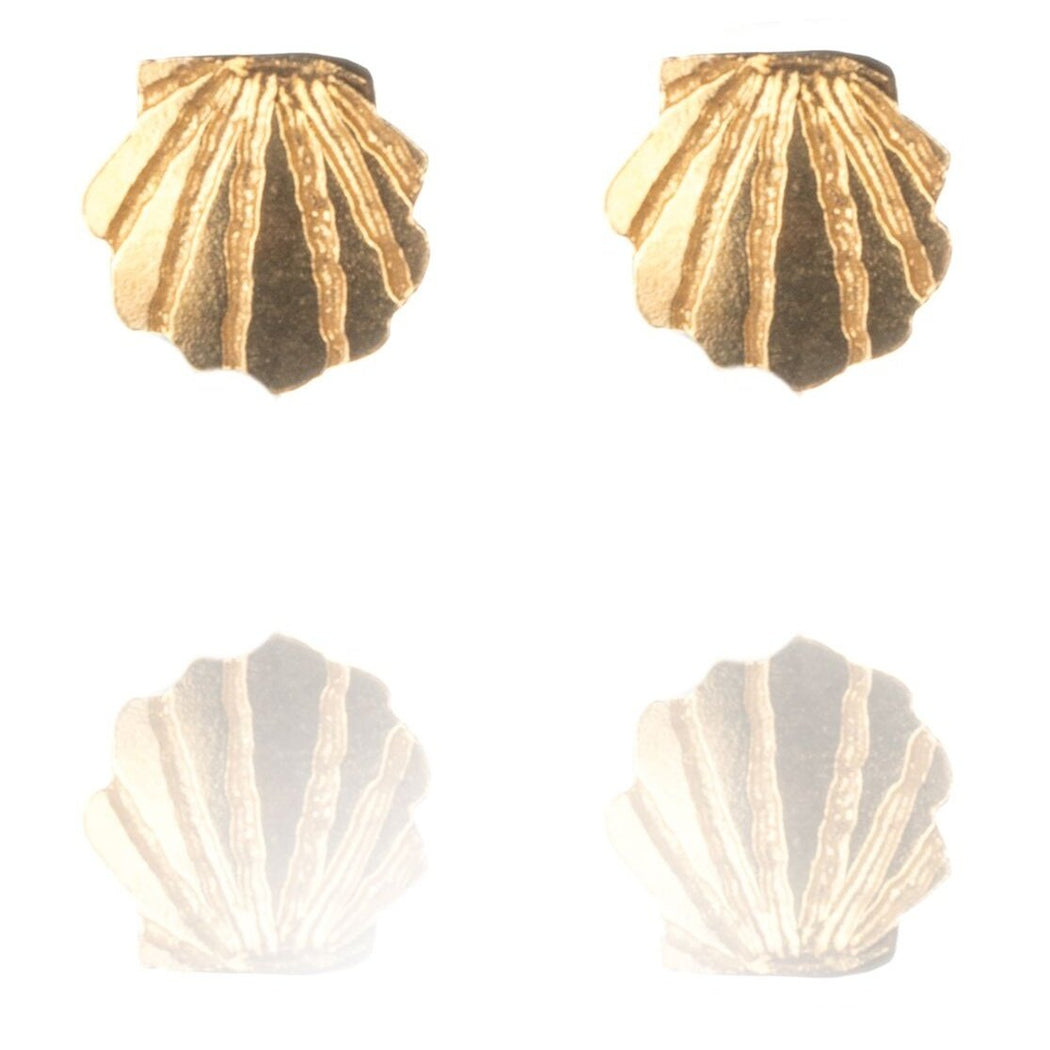 Tiny Gold Vermeil Clam Shell Stud Earrings