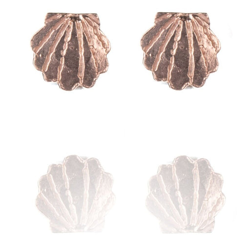 Tiny Rose Gold Vermeil Clam Shell Stud Earrings
