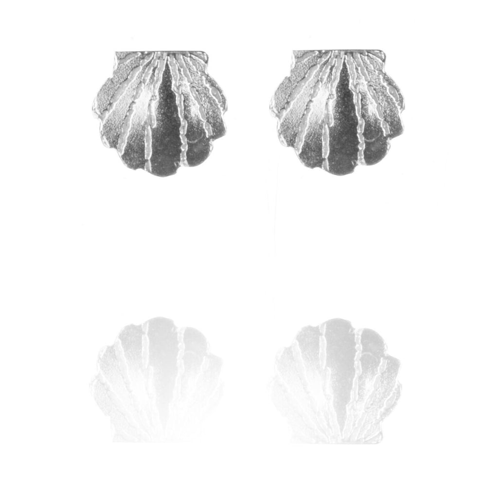 Tiny Sterling Silver Clam Shell Stud Earrings