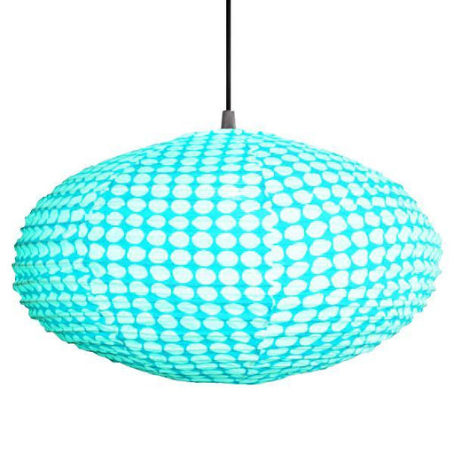 Small 60cm Turquoise and Cream Dot Cotton Pendant Lampshade