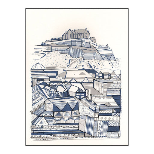 Edinburgh Blue & Grey Buildings Hand Pulled Screen Print