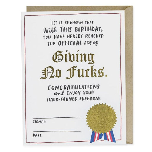 Giving No F**ks Birthday Card