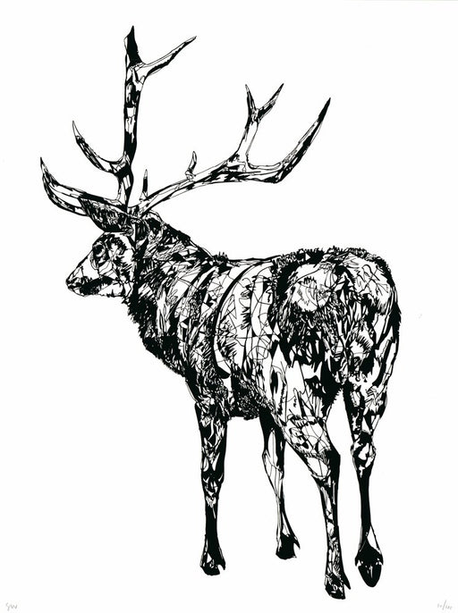 Standing Stag Hand Pulled Screen Print