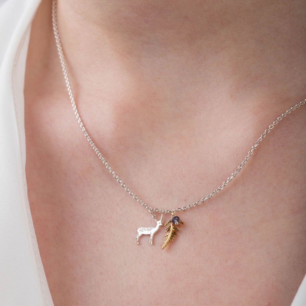 Tiny Sterling Silver Fern and Stag Necklace