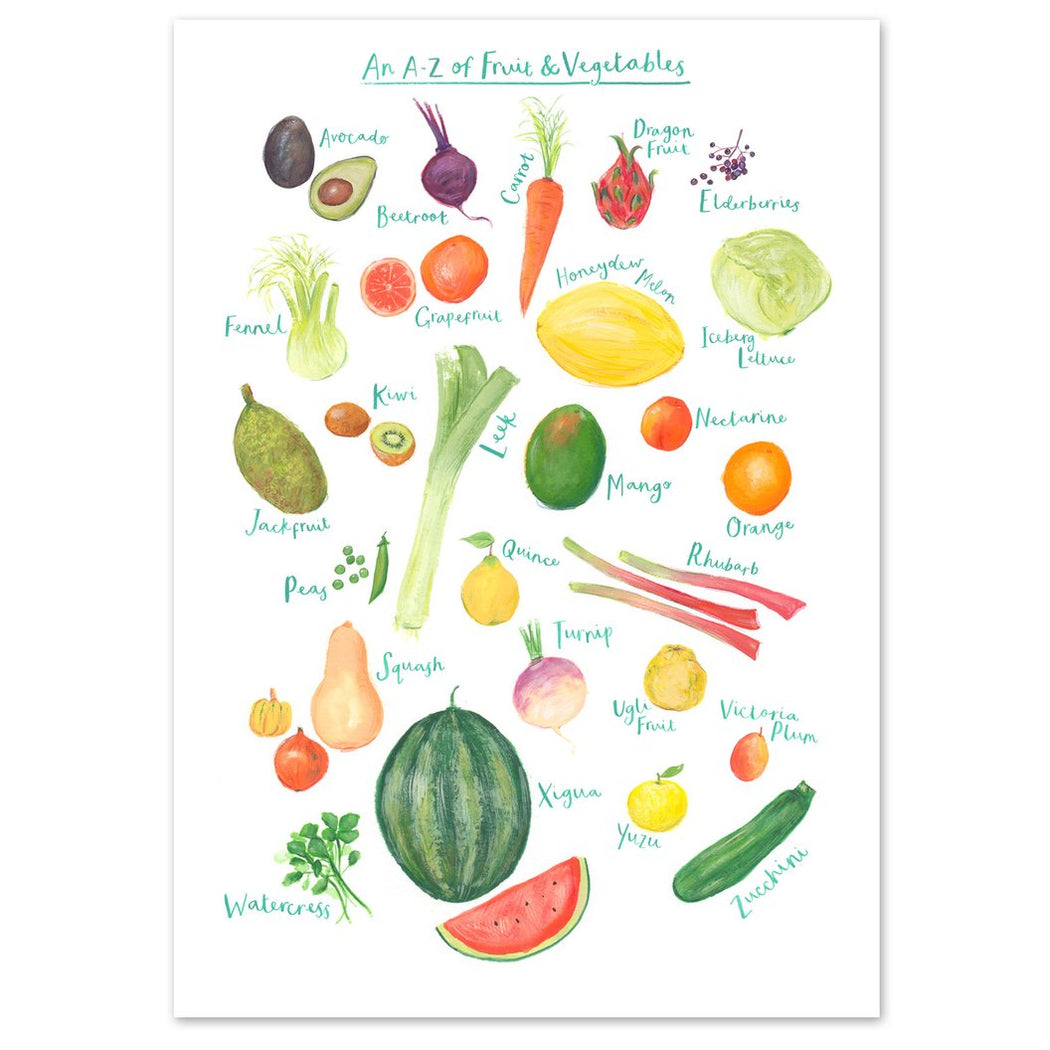 A3 A to Z of Fruit and Vegetables Art Print