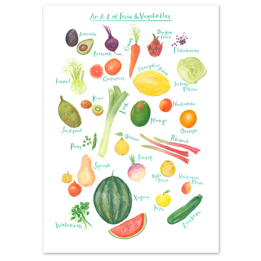 A4 A to Z of Fruit and Vegetables Art Print