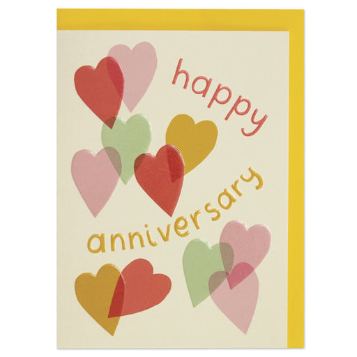 Colourful Hearts Anniversary Card