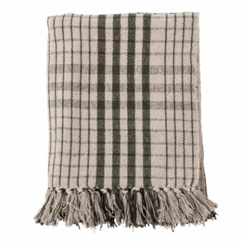 Green & Ecru Checked Recycled Cotton Fryd Throw