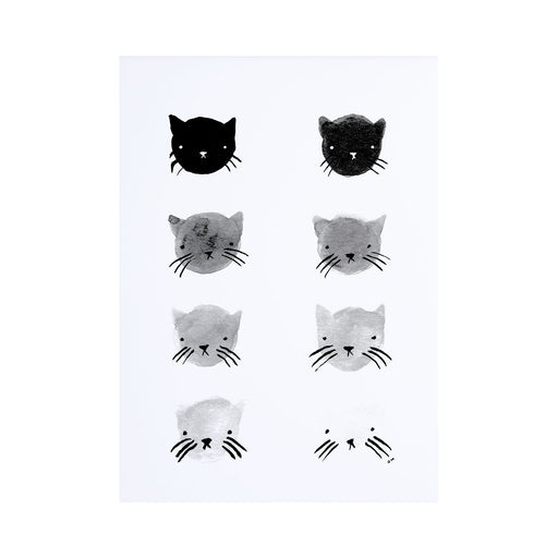 Grey Scale Kitties Print