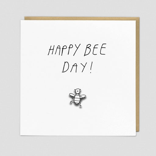 Happy Bee Day Enamel Pin Card