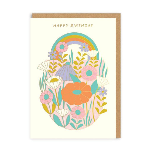 Flowers & Rainbow With Gold Leaf Birthday Card