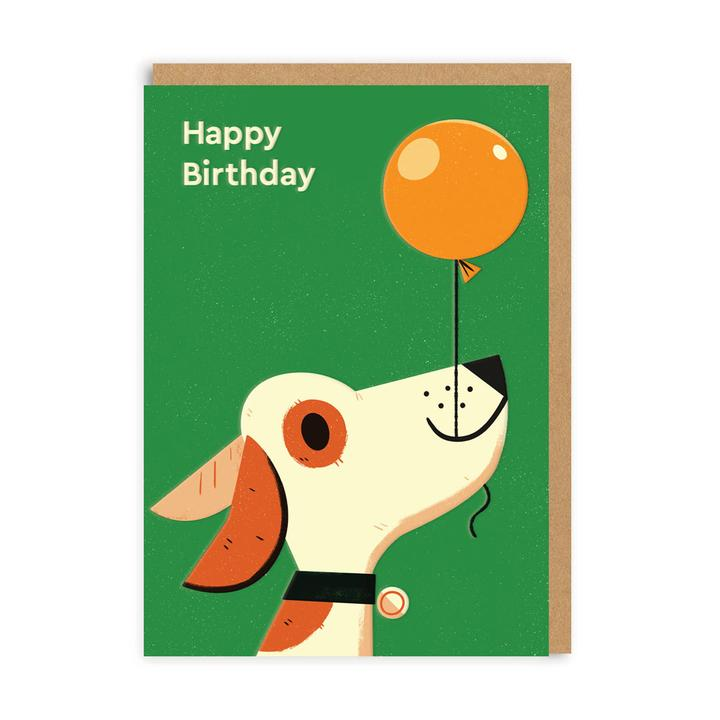 Happy Birthday Dog With Balloon Green Card