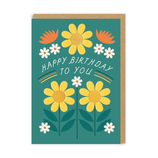 Happy Birthday To You Teal Card With Orange & Yellow Flowers