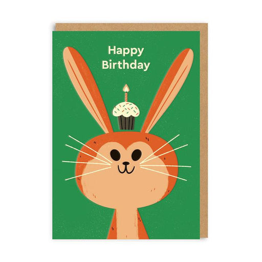 Happy Birthday Rabbit With A Cupcake Green Card
