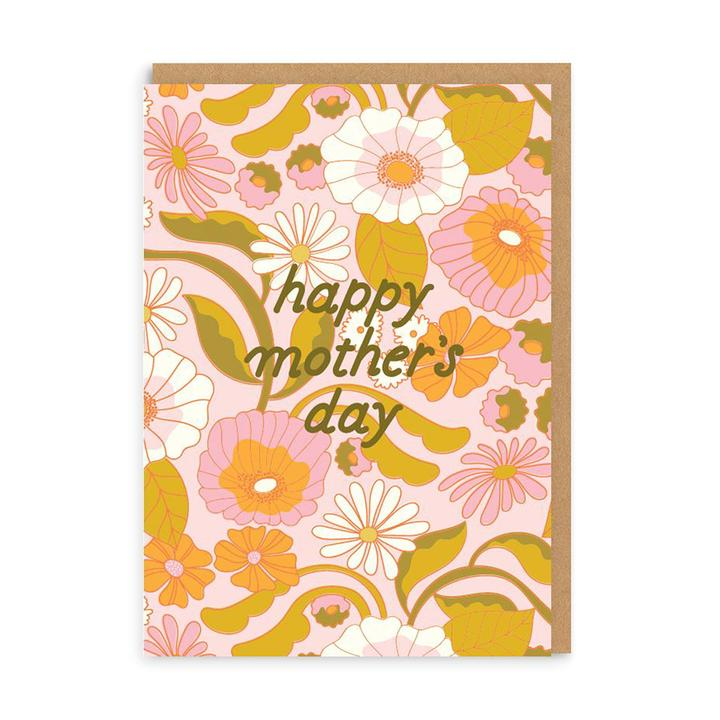 Happy Mother's Day Retro Floral Card