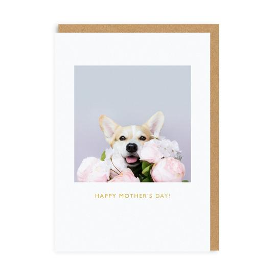 Happy Mother's Day Card - Corgi & Peonies