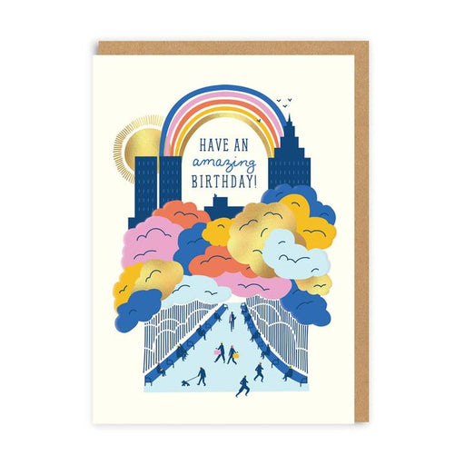 Have An Amazing Birthday City Scape With Rainbow Card