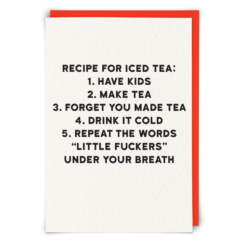 Recipe For Iced Tea Blank Card