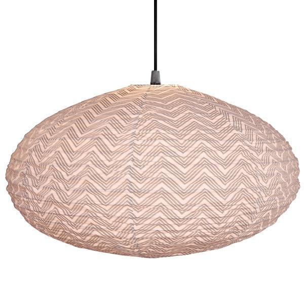 Small 60cm Grey and Cream Kuba Cotton Pendant Lampshade