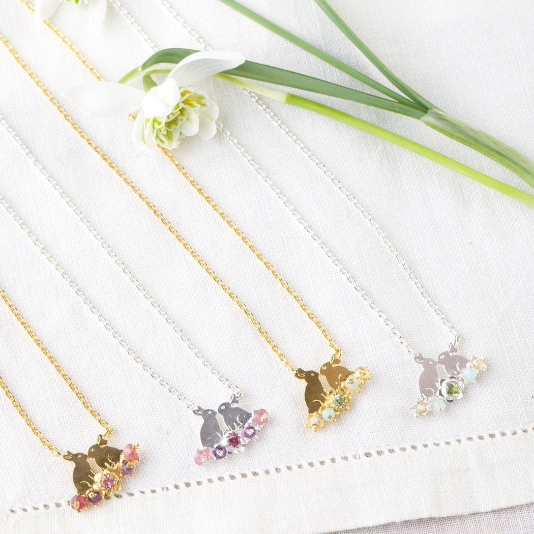 Tiny Sterling Silver Kissing Bunny Rabbits Necklace