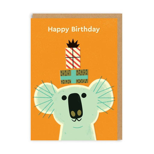 Koala With Present Birthday Card