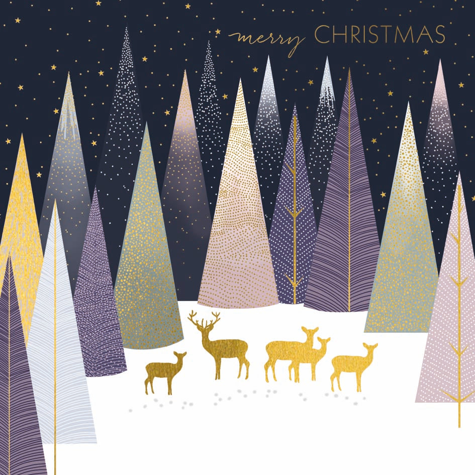 Set Of 8 Deer In Forest Christmas Card Pack