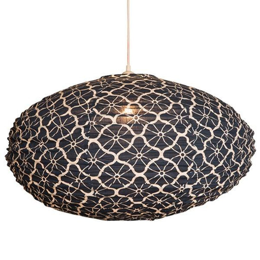 Large 80cm Cream and Indigo Lotus Cotton Pendant Lampshade