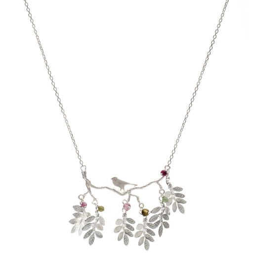 Sterling Silver Bird on a Branch Necklace